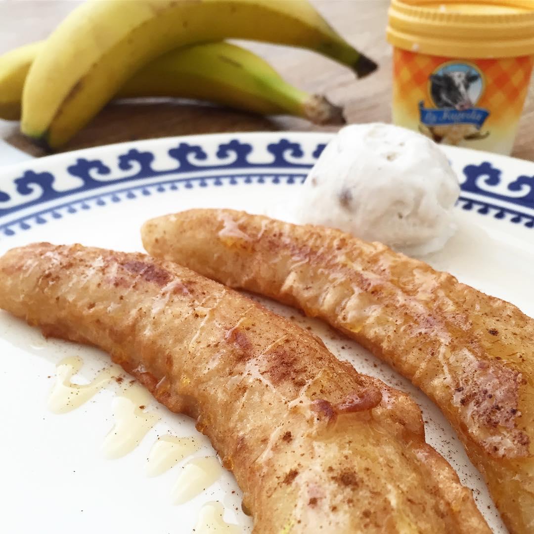 receta-platano-frito-con-miel-y-canela
